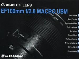 Canon EF 100mm f/2.8 Macro USM - инструкция по эксплуатации
