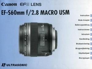 Canon EF-S 60mm f/2.8 Macro USM - инструкция по эксплуатации