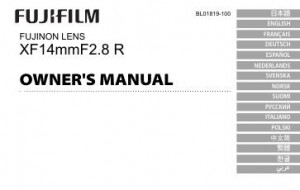 Fujifilm Fujinon Lens XF 14mm f/2.8 R - инструкция по эксплуатации