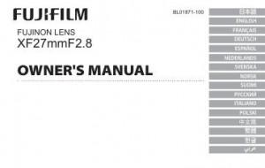 Fujifilm Fujinon Lens XF 27mm f/2.8 - инструкция по эксплуатации