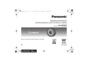 Panasonic Lumix G 20mm f/1.7 ASPH. (H-H020) - инструкция по эксплуатации