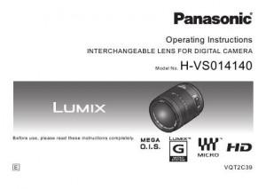 Panasonic Lumix G Vario HD 14-140mm f/4.0-5.8 ASPH. MEGA O.I.S. (H-VS014140) - инструкция по эксплуатации