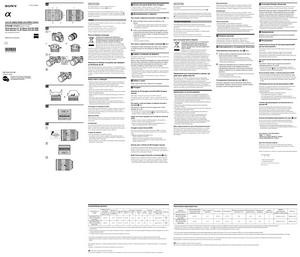 Sony Carl Zeiss Vario-Sonnar T* 16-35 f/2.8 ZA SSM (SAL1635Z), Carl Zeiss Vario-Sonnar T* 24-70mm f/2.8 ZA SSM (SAL2470Z) - инструкция по эксплуатации
